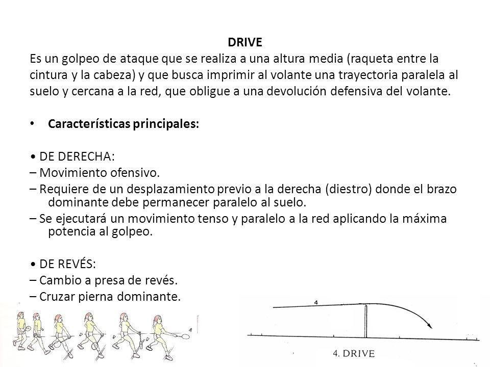 DRIVE Es un golpeo de ataque que se realiza a una altura media (raqueta entre la.