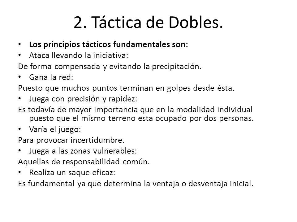 2. Táctica de Dobles. Los principios tácticos fundamentales son:
