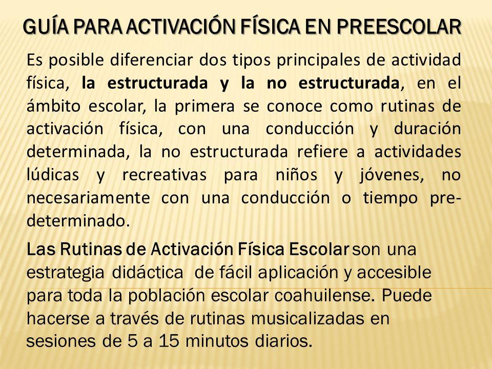 Guía para activación Física en Preescolar