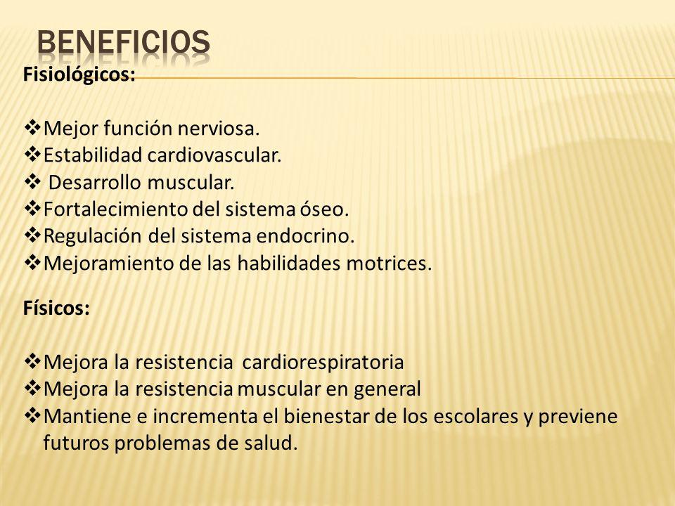 BENEFICIOS Fisiológicos: Mejor función nerviosa.