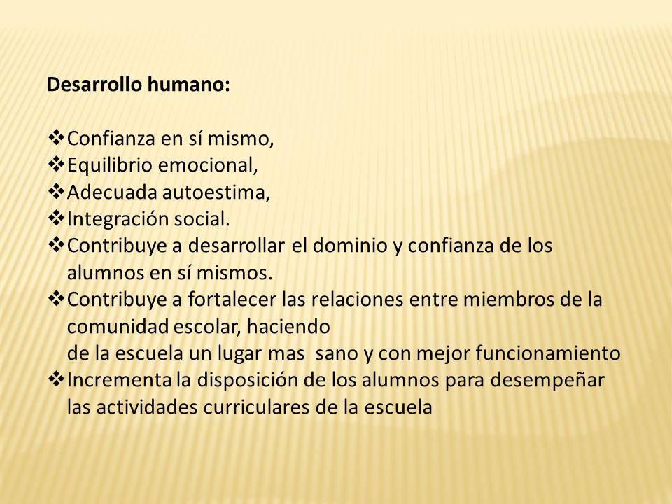 Desarrollo humano: Confianza en sí mismo, Equilibrio emocional, Adecuada autoestima, Integración social.