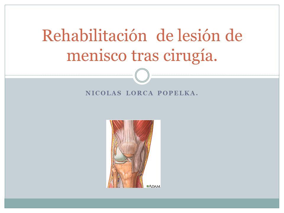 Rehabilitación de lesión de menisco tras cirugía.