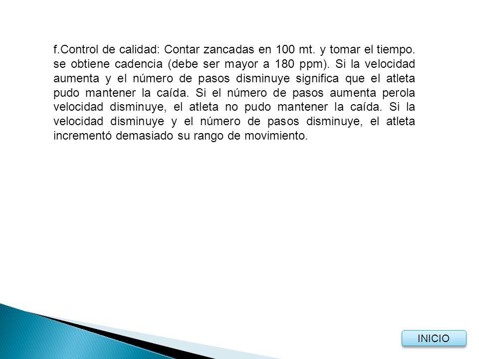 f. Control de calidad: Contar zancadas en 100 mt. y tomar el tiempo