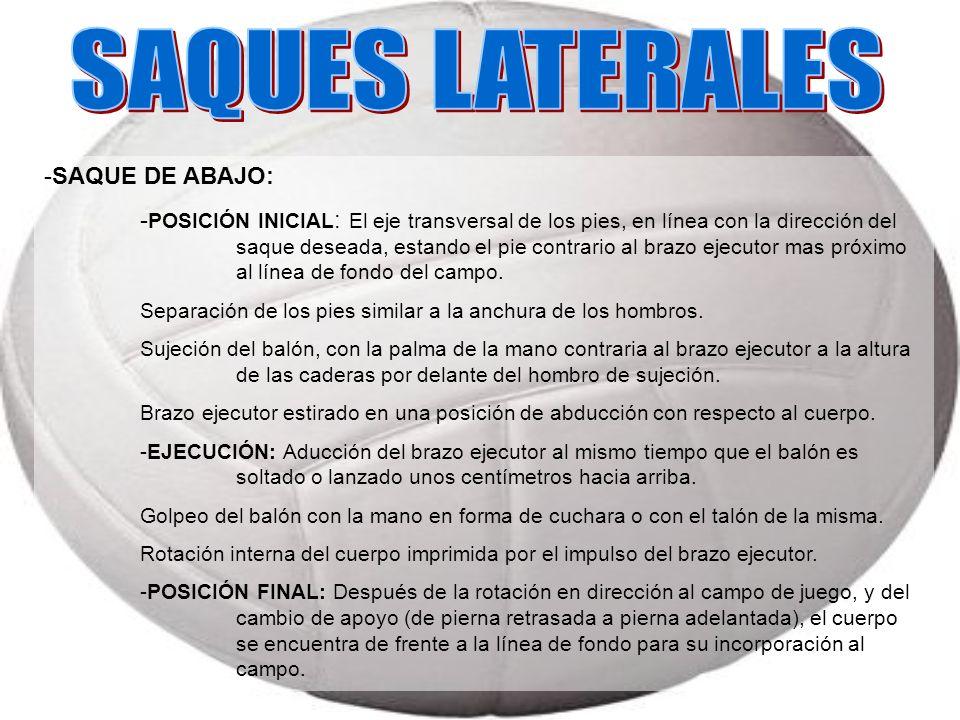 SAQUES LATERALES -SAQUE DE ABAJO: