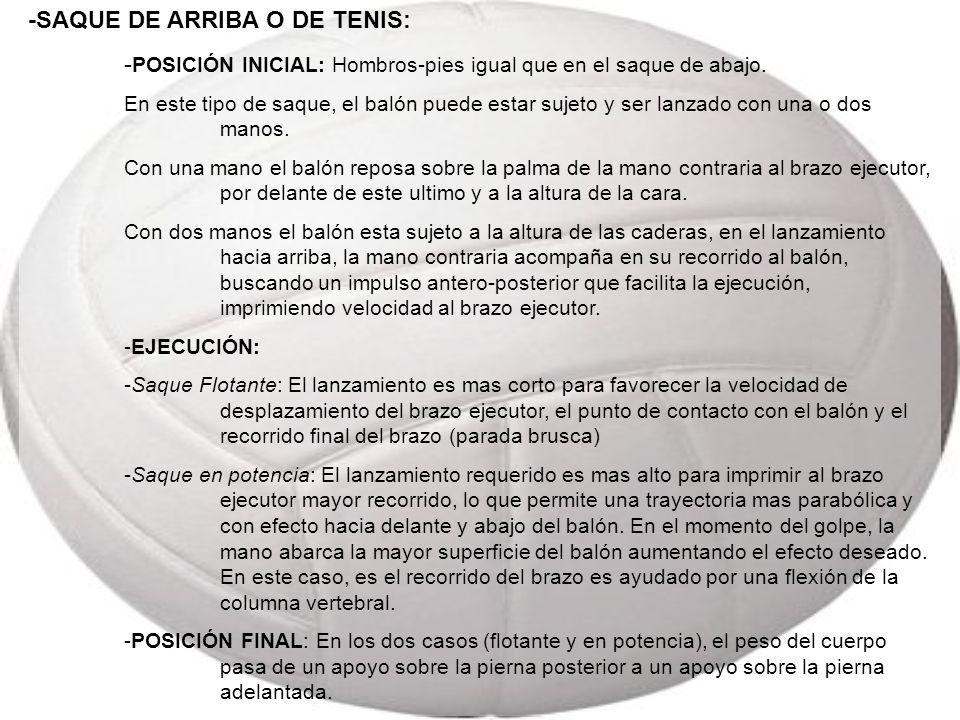 -SAQUE DE ARRIBA O DE TENIS: