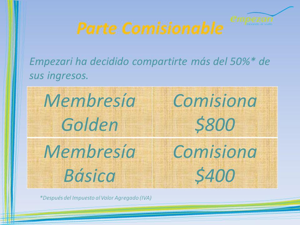 Membresía Golden Comisiona $800 Membresía Básica Comisiona $400