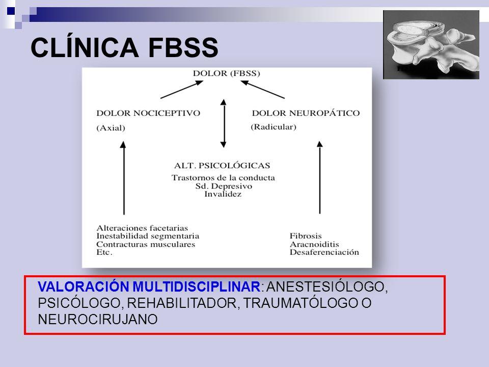 CLÍNICA FBSS VALORACIÓN MULTIDISCIPLINAR: ANESTESIÓLOGO, PSICÓLOGO, REHABILITADOR, TRAUMATÓLOGO O NEUROCIRUJANO.
