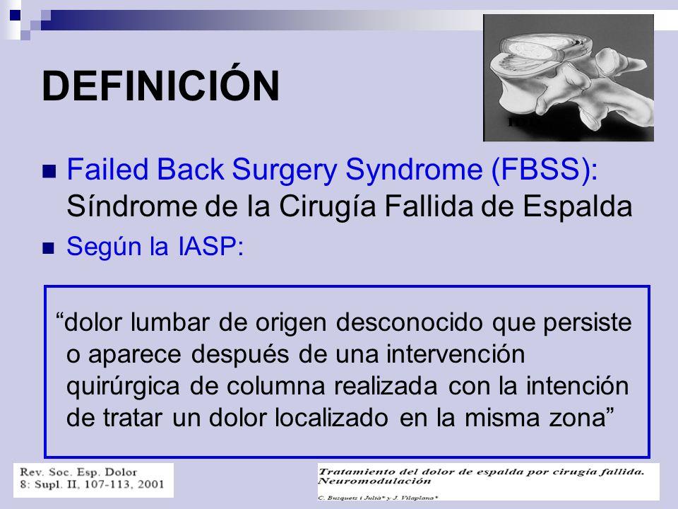 DEFINICIÓN Failed Back Surgery Syndrome (FBSS): Síndrome de la Cirugía Fallida de Espalda. Según la IASP: