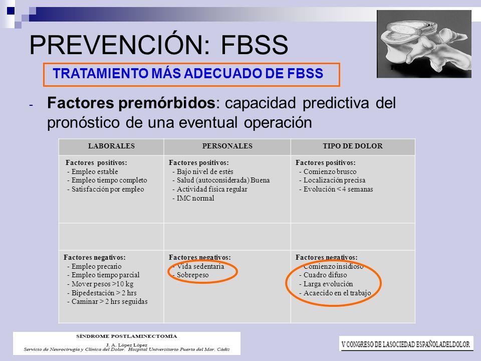 PREVENCIÓN: FBSS Factores premórbidos: capacidad predictiva del pronóstico de una eventual operación.