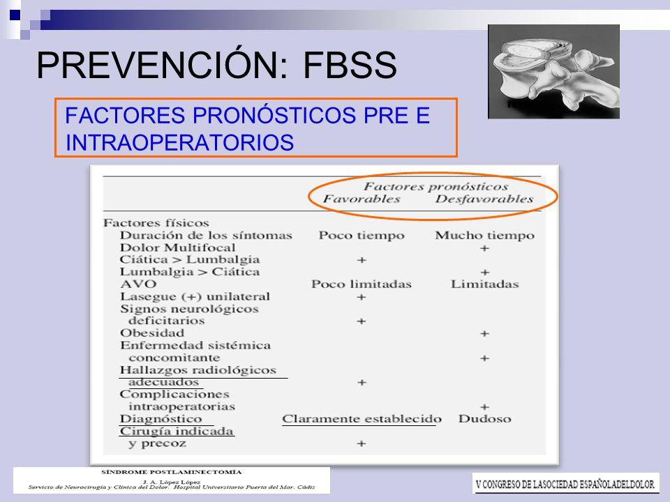 PREVENCIÓN: FBSS FACTORES PRONÓSTICOS PRE E INTRAOPERATORIOS