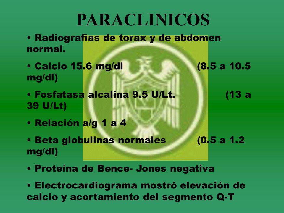 PARACLINICOS Radiografias de torax y de abdomen normal.