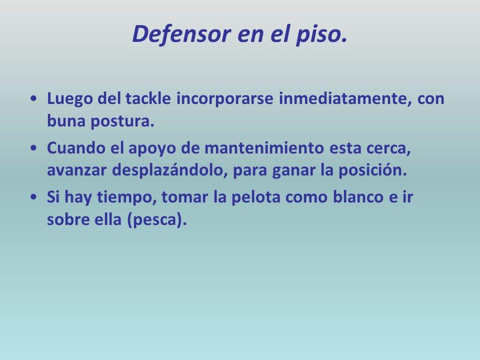Defensor en el piso. Luego del tackle incorporarse inmediatamente, con buna postura.