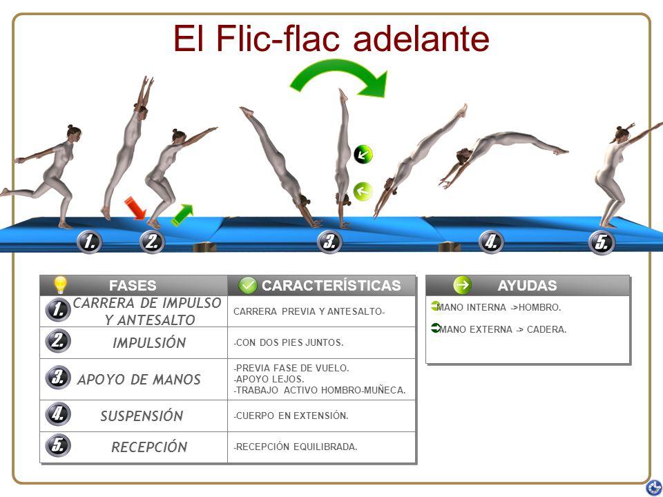 El Flic-flac adelante FASES CARACTERÍSTICAS AYUDAS CARRERA DE IMPULSO