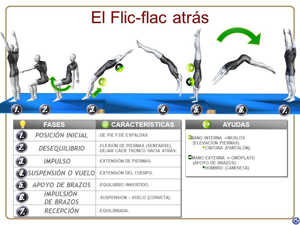 El Flic-flac atrás FASES CARACTERÍSTICAS AYUDAS POSICIÓN INICIAL
