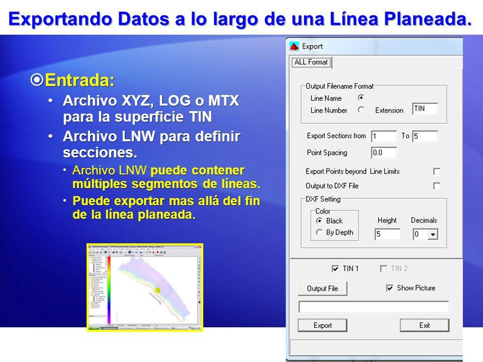 Exportando Datos a lo largo de una Línea Planeada.