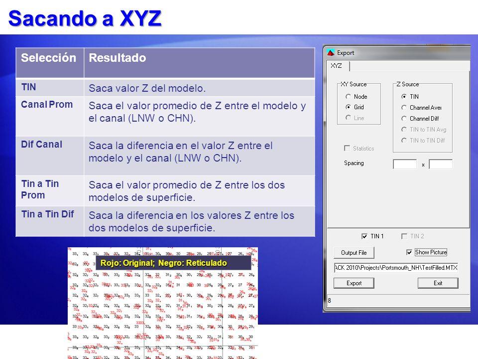 Sacando a XYZ Selección Resultado Saca valor Z del modelo.