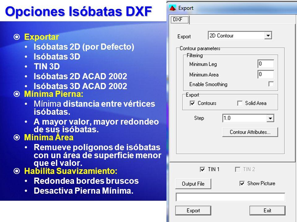 Opciones Isóbatas DXF Exportar Isóbatas 2D (por Defecto) Isóbatas 3D