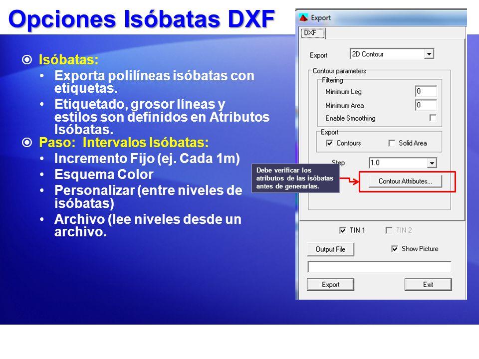 Opciones Isóbatas DXF Isóbatas: