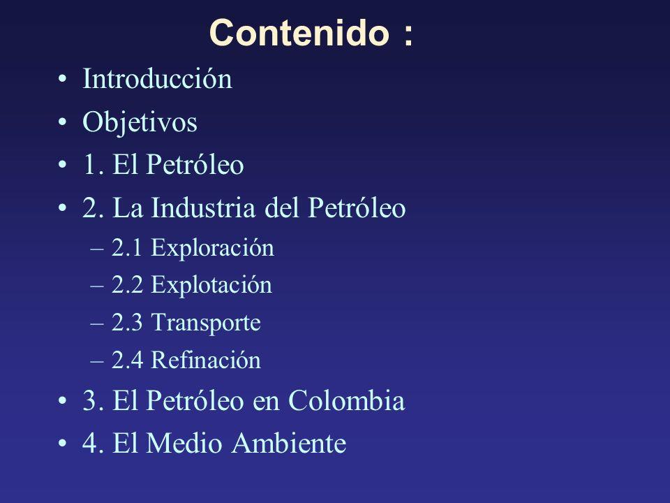 Contenido : Introducción Objetivos 1. El Petróleo