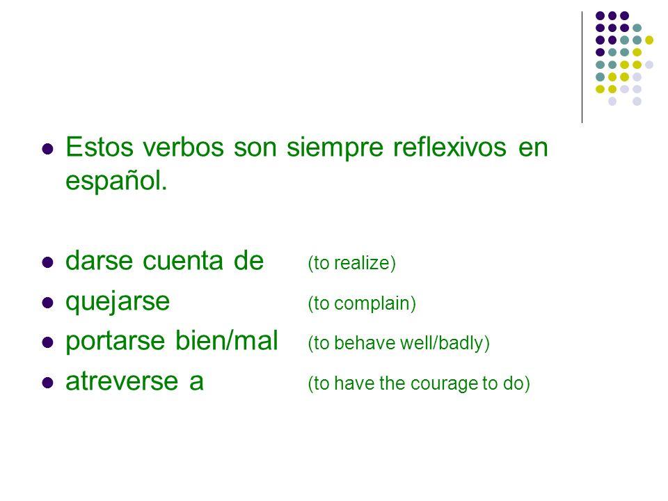 Estos verbos son siempre reflexivos en español.