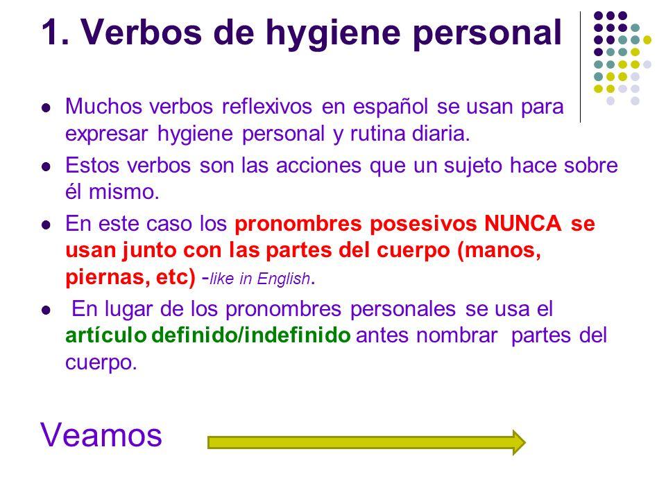 1. Verbos de hygiene personal