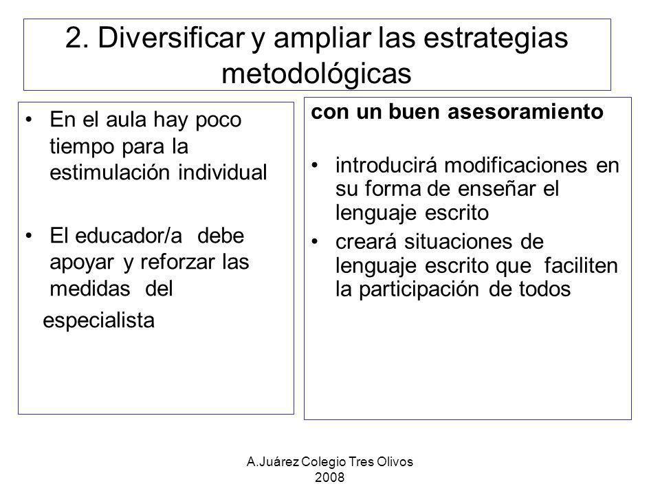 2. Diversificar y ampliar las estrategias metodológicas