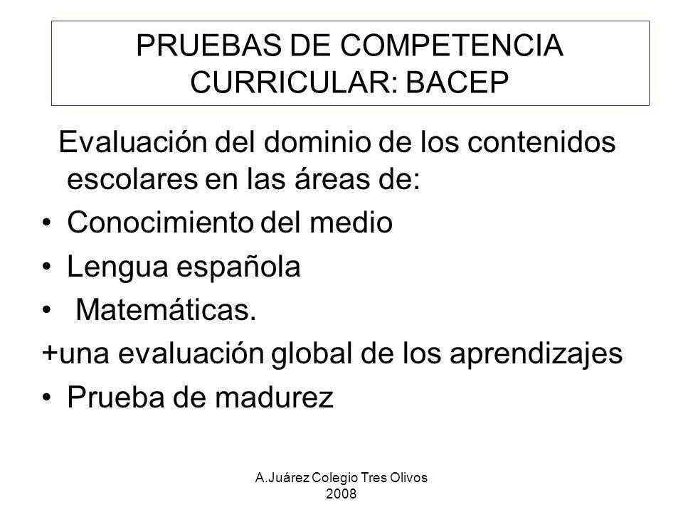 PRUEBAS DE COMPETENCIA CURRICULAR: BACEP