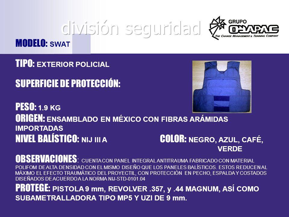 división seguridad MODELO: SWAT TIPO: EXTERIOR POLICIAL