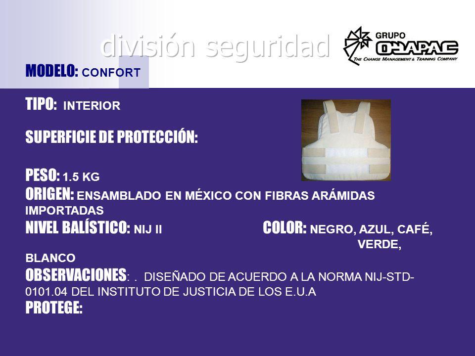 división seguridad MODELO: CONFORT TIPO: INTERIOR
