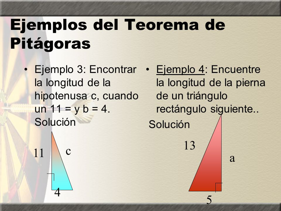Ejemplos del Teorema de Pitágoras