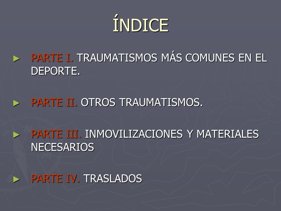 ÍNDICE PARTE I. TRAUMATISMOS MÁS COMUNES EN EL DEPORTE.