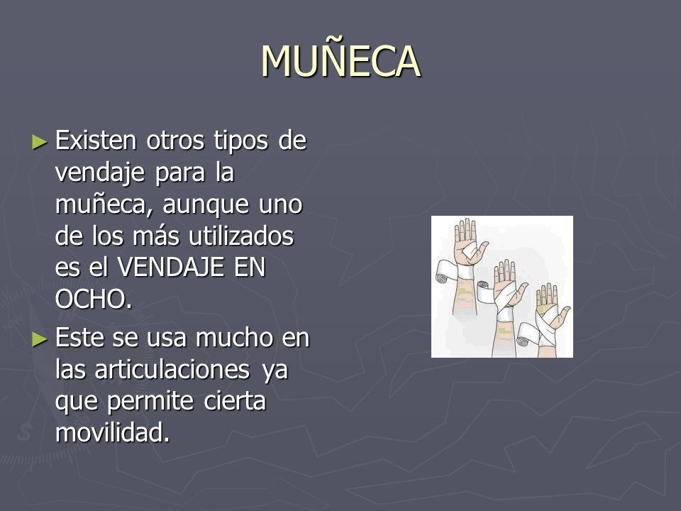 MUÑECA Existen otros tipos de vendaje para la muñeca, aunque uno de los más utilizados es el VENDAJE EN OCHO.
