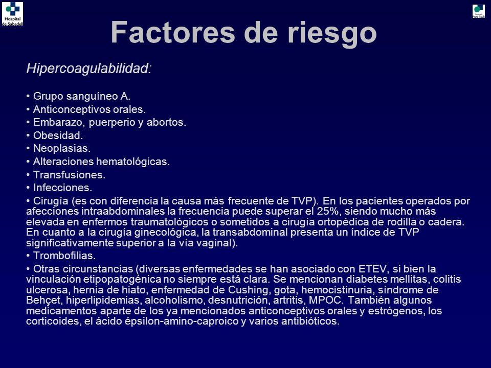 Factores de riesgo Hipercoagulabilidad: Grupo sanguíneo A.