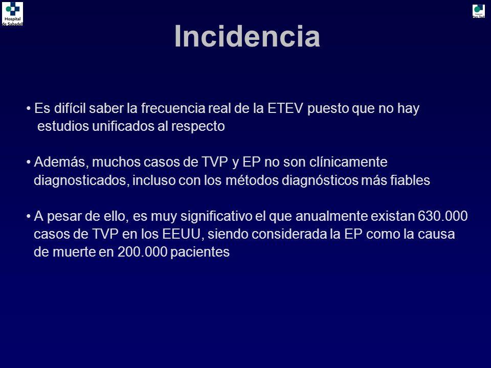 Incidencia Es difícil saber la frecuencia real de la ETEV puesto que no hay. estudios unificados al respecto.