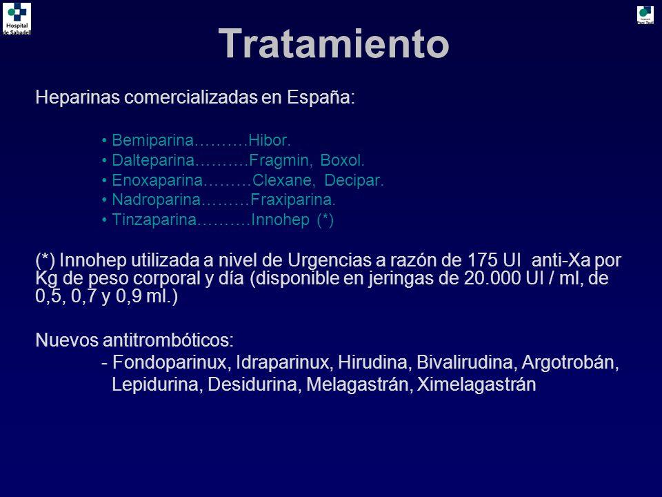 Tratamiento Heparinas comercializadas en España: