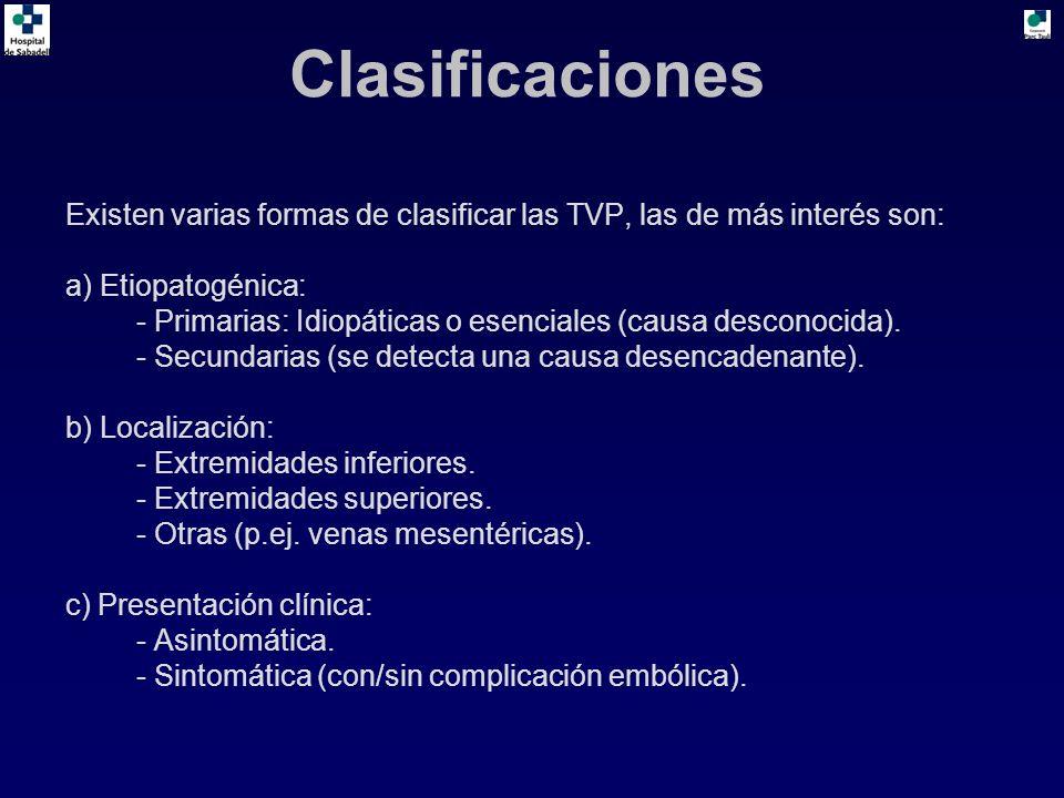 Clasificaciones Existen varias formas de clasificar las TVP, las de más interés son: a) Etiopatogénica: