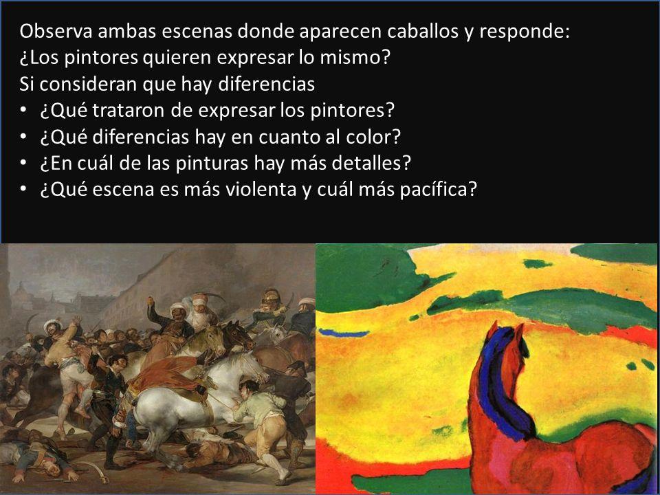 Observa ambas escenas donde aparecen caballos y responde: