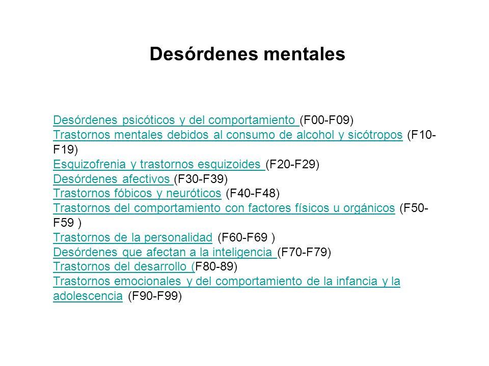Desórdenes mentalesDesórdenes psicóticos y del comportamiento (F00-F09) Trastornos mentales debidos al consumo de alcohol y sicótropos (F10-F19)