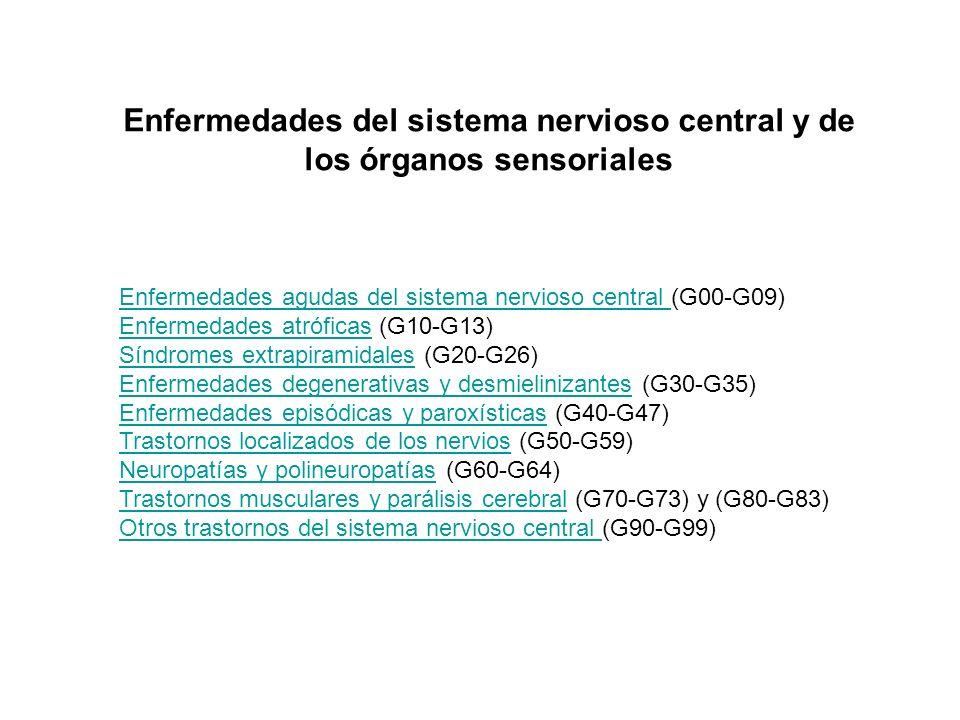Enfermedades del sistema nervioso central y de los órganos sensoriales