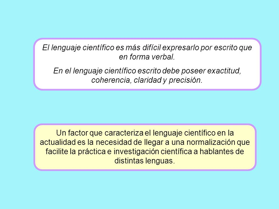 El lenguaje científico es más difícil expresarlo por escrito que en forma verbal.