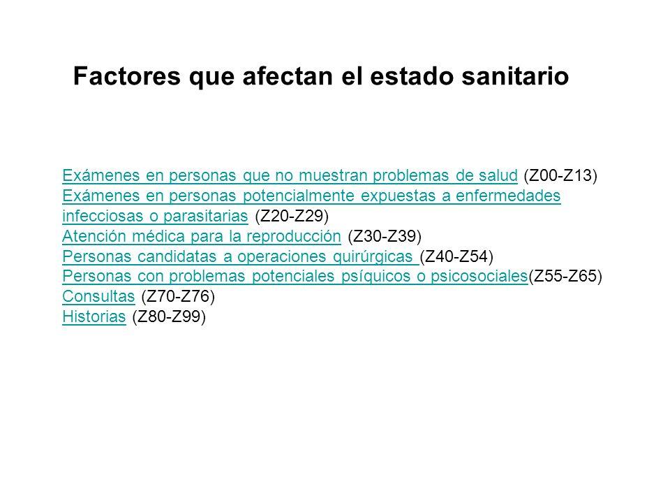 Factores que afectan el estado sanitario