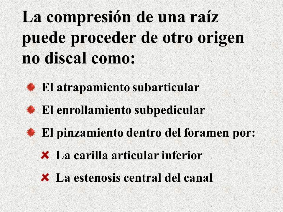La compresión de una raíz puede proceder de otro origen no discal como: