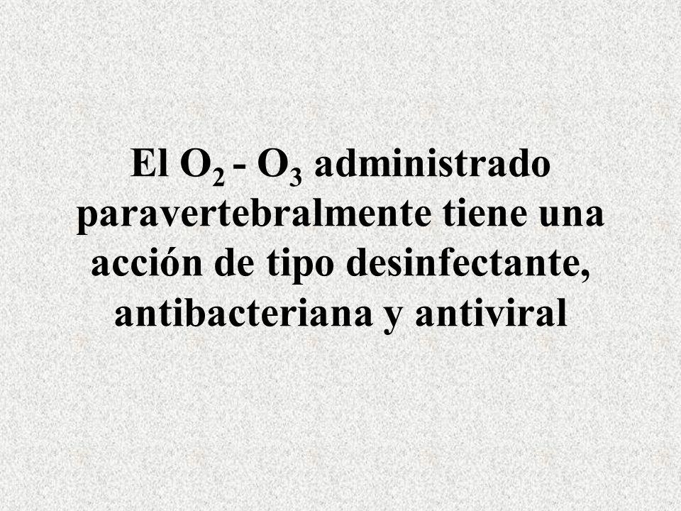 El O2 - O3 administrado paravertebralmente tiene una acción de tipo desinfectante, antibacteriana y antiviral