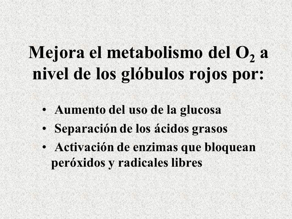 Mejora el metabolismo del O2 a nivel de los glóbulos rojos por: