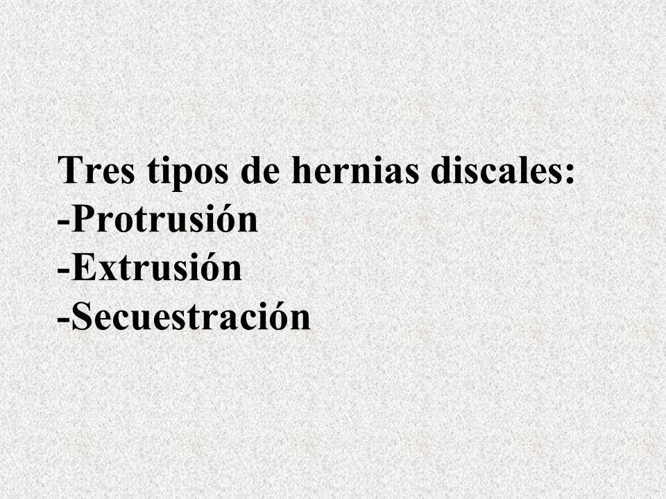 Tres tipos de hernias discales: -Protrusión -Extrusión -Secuestración