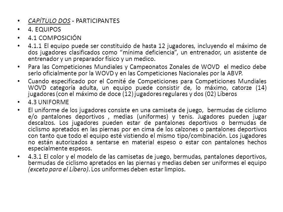 CAPÍTULO DOS - PARTICIPANTES 4. EQUIPOS 4.1 COMPOSICIÓN