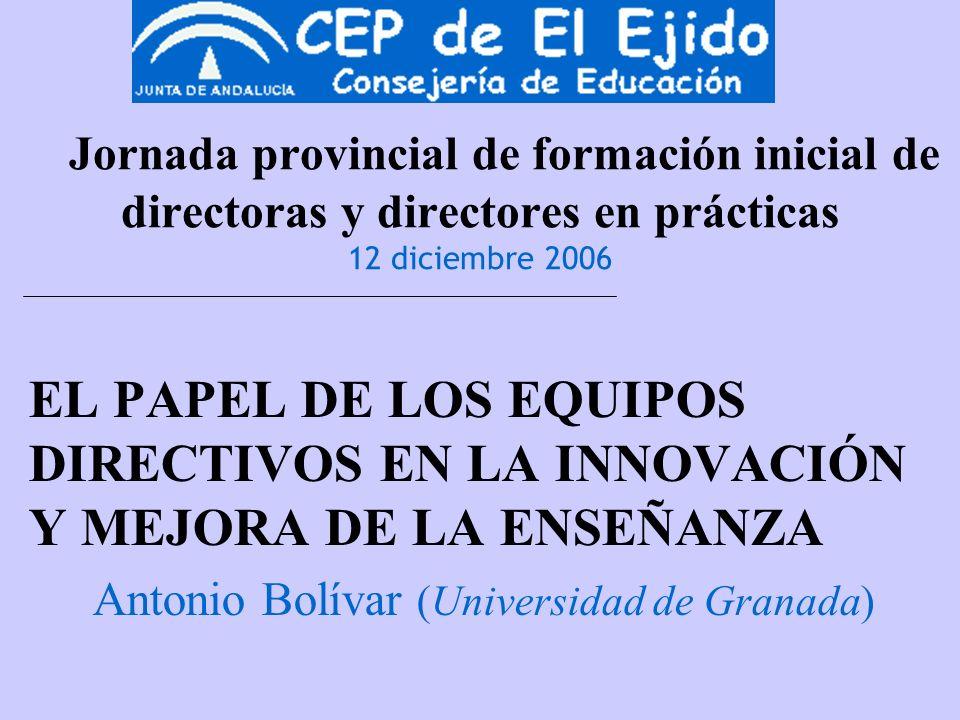 Jornada provincial de formación inicial de directoras y directores en prácticas 12 diciembre 2006