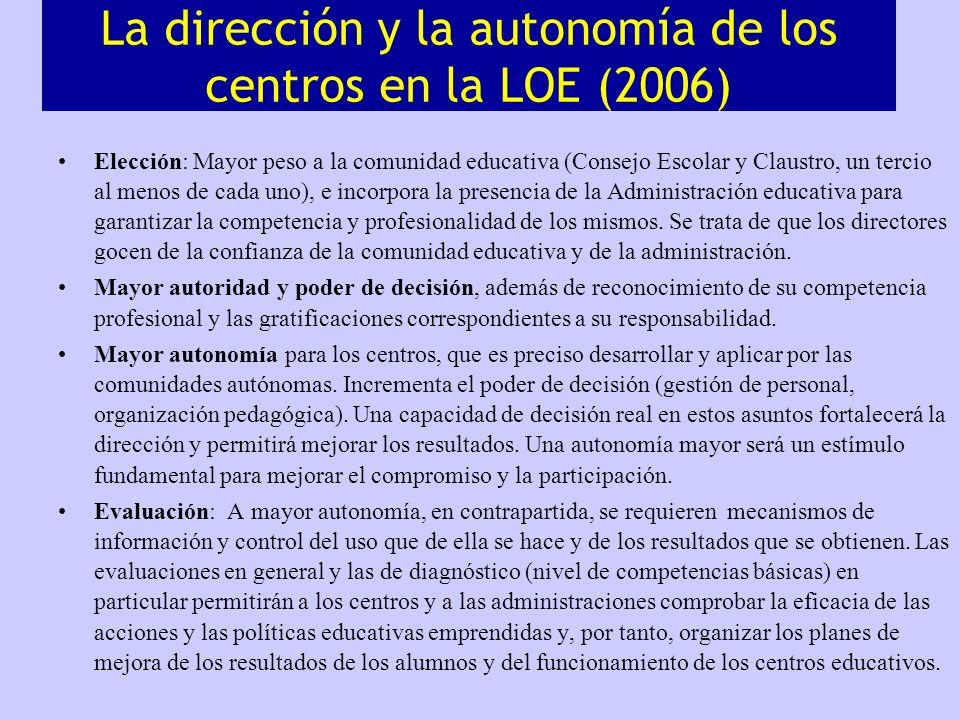 La dirección y la autonomía de los centros en la LOE (2006)