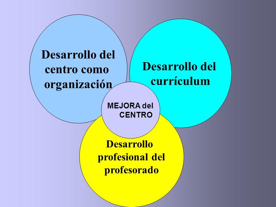 Desarrollo del centro como organización Desarrollo del currículum