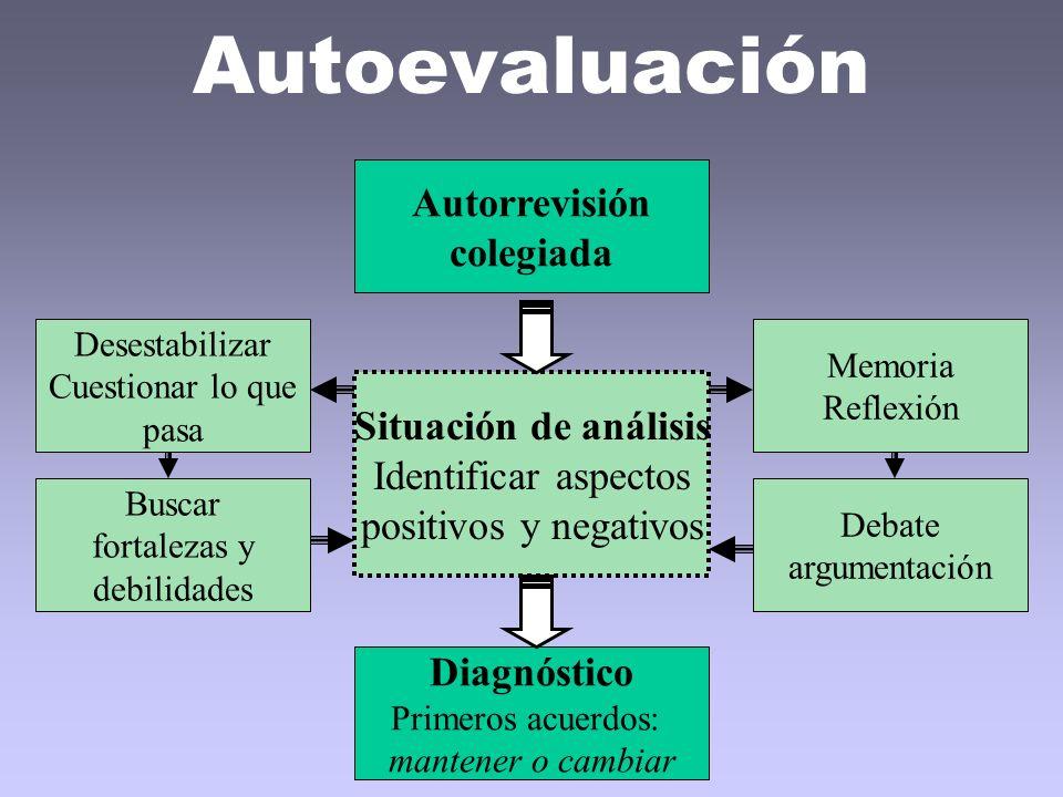 Autoevaluación Autorrevisión colegiada Situación de análisis